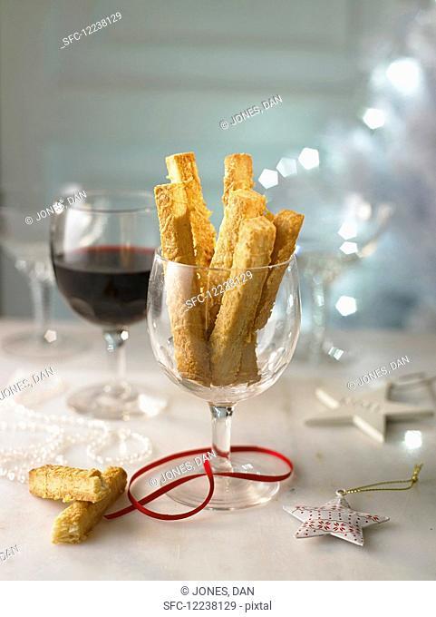 Cheese straws and wine