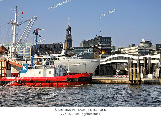 View of the skyline of the port of Hamburg, Germany