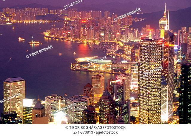 Central district skyline, harbour panorama. Hong Kong, China