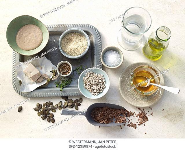 Basic ingredients for baking bread
