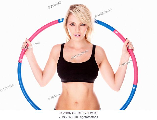 fitness blonde woman on white background