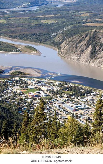 View from The Dome lookout of Dawson City, Yukon, Canada