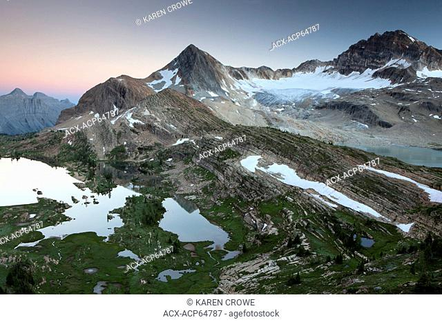 Sunset at Limestone Lakes, Russell Peak in the distance, Height of the Rockies Provincial Park, British Columbia, Canada