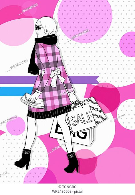 Back of female fashion model wearing a muffler, coat with check patterns and boots holding a purse and shopping bags