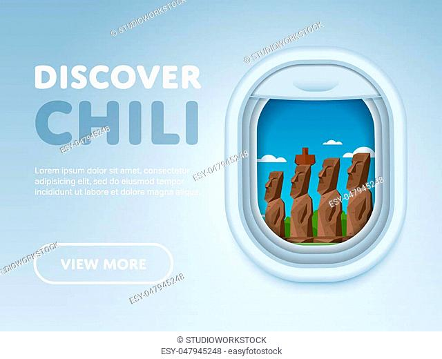 Discover Chili. Traveling the world by plane. Tourism and vacation theme. Attraction of airplane window. Modern flat raster design banner