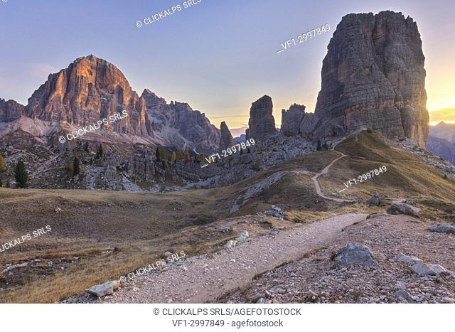 The Cinque Torri (Five Towers) at sunrise, Dolomites, Belluno, Veneto, Italy