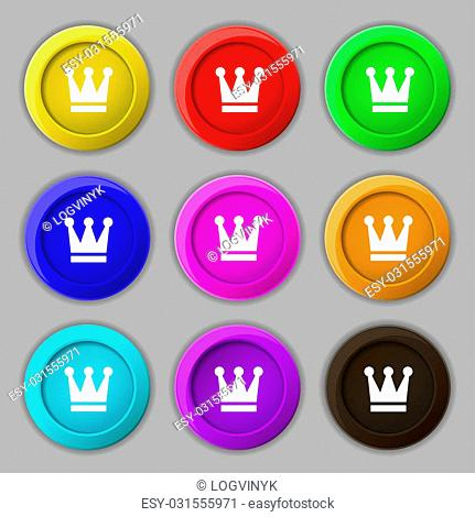 King, Crown icon sign. symbol on nine round colourful buttons. illustration