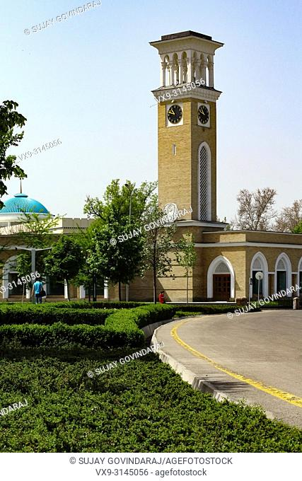 Tashkent, Uzbekistan - April 25, 2015: Well known Tashkent clock tower building and one of the tourist attraction place in the city