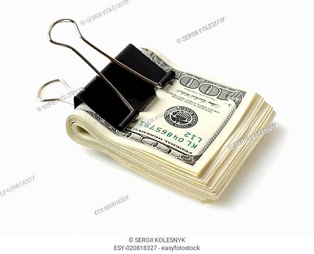 Dollar bills with clip