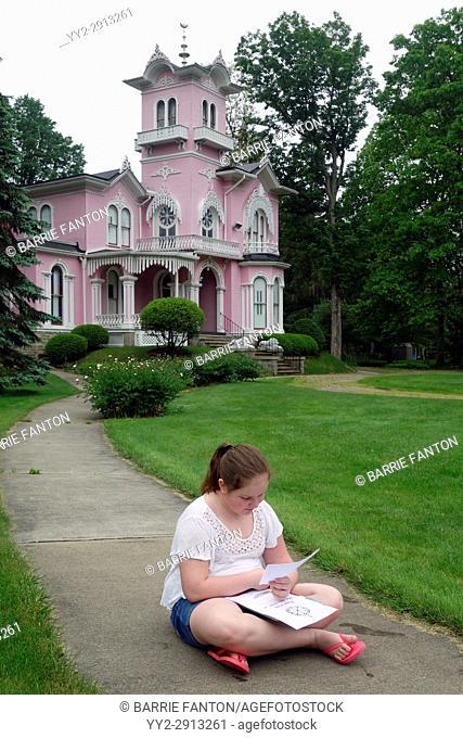6th Grade Girl Sketching Outdoors in Art Class, Wellsville, New York, USA