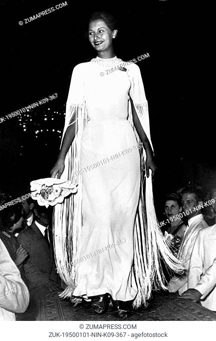 Jan 01, 1950 - Salsomaggiore, ITALY - One of the most successful international stars of the postwar era, SOPHIA LOREN during 'Miss Italia' pageant