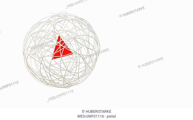 String sphere with red triangle in the center, 3d rendering