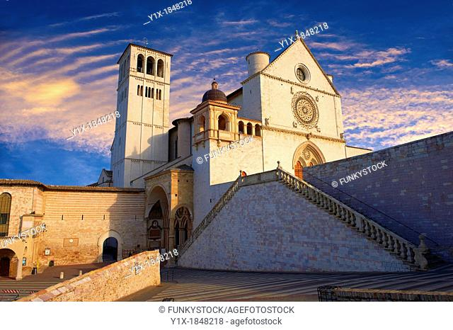 The upper facade of the Papal Basilica of St Francis of Assisi,  Basilica Papale di San Francesco  Assisi, Italy