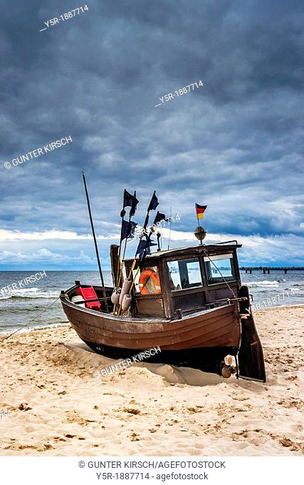 Fishing boat at the Baltic Sea near the pier of the Baltic Sea resort of Ahlbeck, Municipality of Heringsdorf, Usedom Island, County Vorpommern-Greifswald