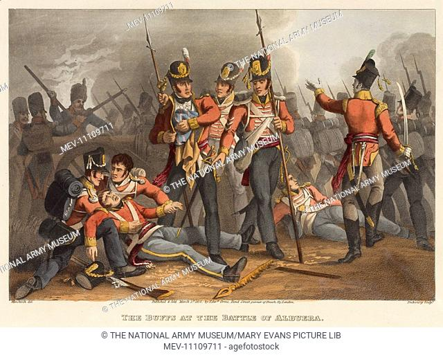 The Buffs at the Battle of AlbueraShows one officer lying wounded supported by two soldiers, another (possibly Lt Thomas Latham) rescuing the Regimental Colours...