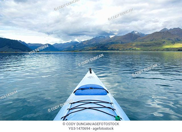 Kayak on lake Wakatipu, Otago, New Zealand