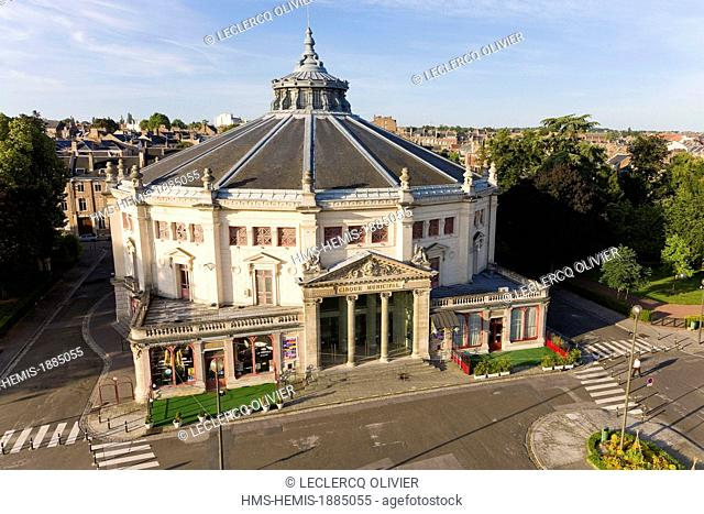France, Somme, Amiens, Municipal Circus built in 1889 and called Cirque Jules Verne since 2003 (aerial view)