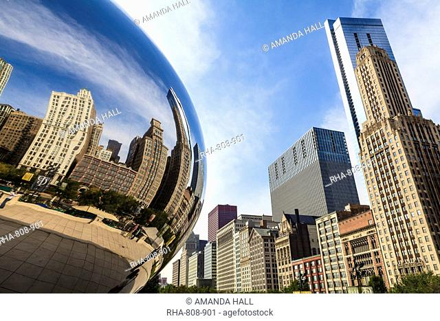 Tall buildings on North Michigan Avenue reflecting in the Cloud Gate steel sculpture by Anish Kapoor, Millennium Park, Chicago, Illinois