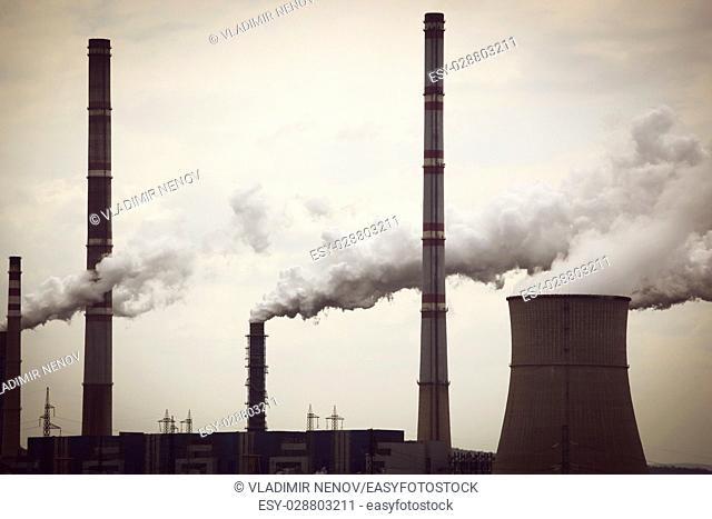 Industrial pipe polluting atmosphere
