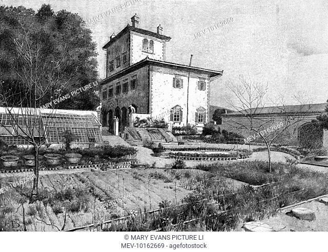 The villa of Walter Savage Landor, writer, at Fiesole, near Firenze, Italy