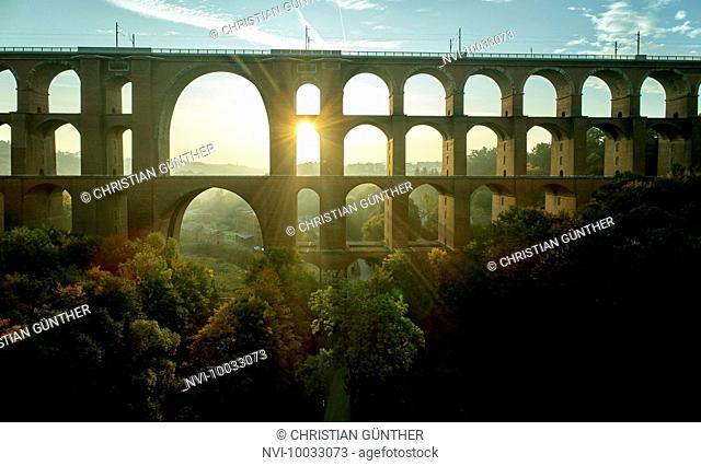 The Göltzsch Viaduct is the world's largest brick bridge, Vogtland, Saxony, Germany