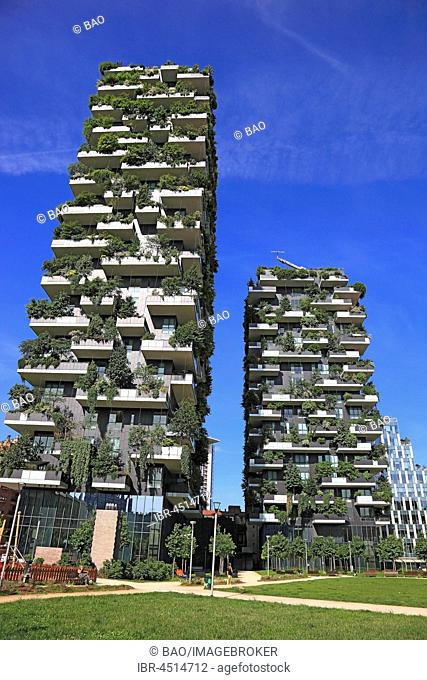 Bosco Verticale, twin towers, greenhouses with trees and shrubs, Milan, Lombardy, Italy