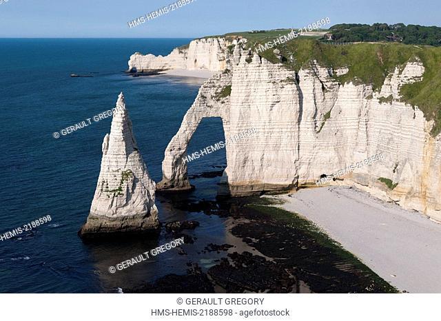 France, Seine Maritime, Pays de Caux, Cote d'Albatre, Etretat, the Aval cliff, Arch and Aiguille (aerial view)