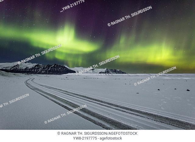Aurora Borealis or Northern lights, Vatnajokull Ice Cap, Iceland