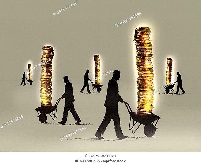 Businessmen pushing piles of money in wheelbarrows