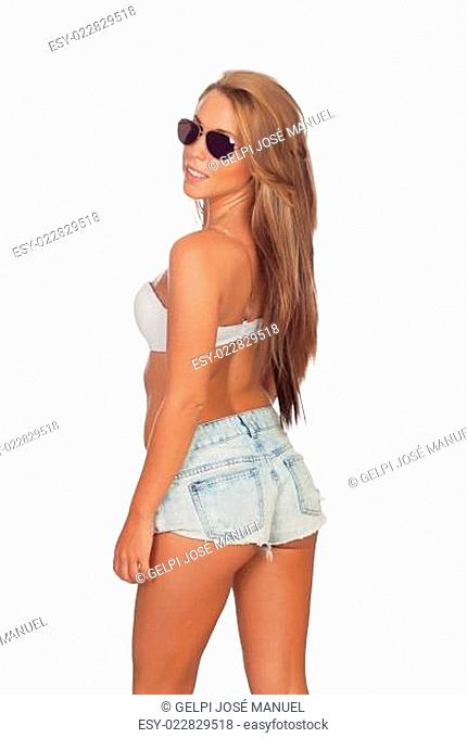 Sensual beautiful girl back with jeans short and sunglasses