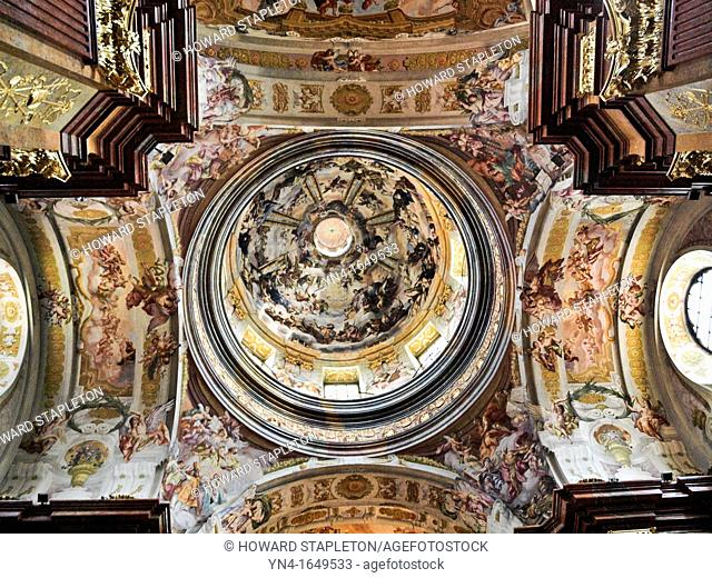 Cupola and ceiling of the chapel in the Benedictine Abby at Melk, Austria