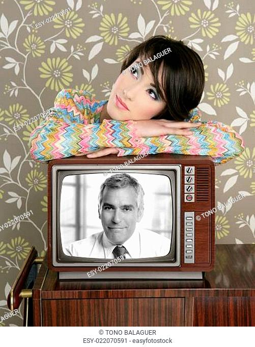 retro woman in love with tv senior handsome hero