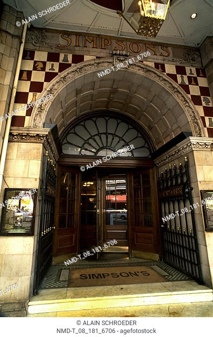 Entrance of a restaurant, Simpson's, Strand, London, England