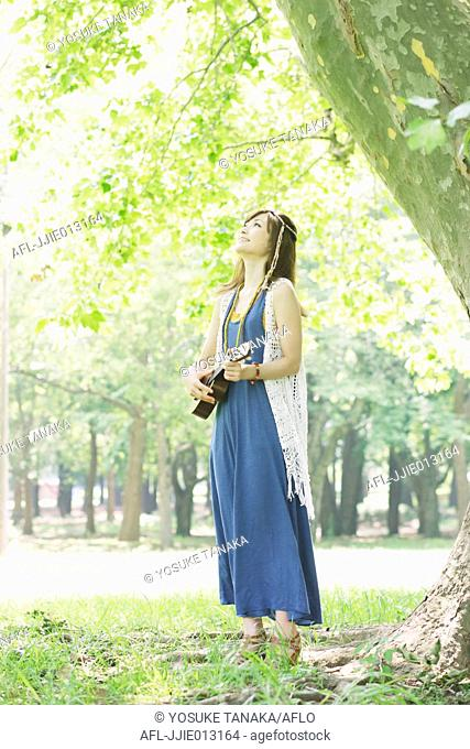 Japanese woman in a park