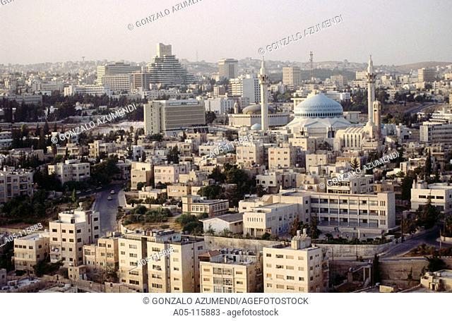 King Abdullah mosque in background. Amman. Jordan