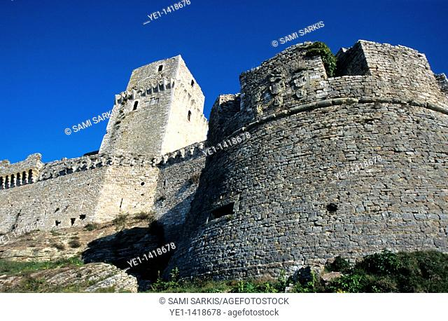 Stone walls of the Rocca Maggiore, Assisi, Italy