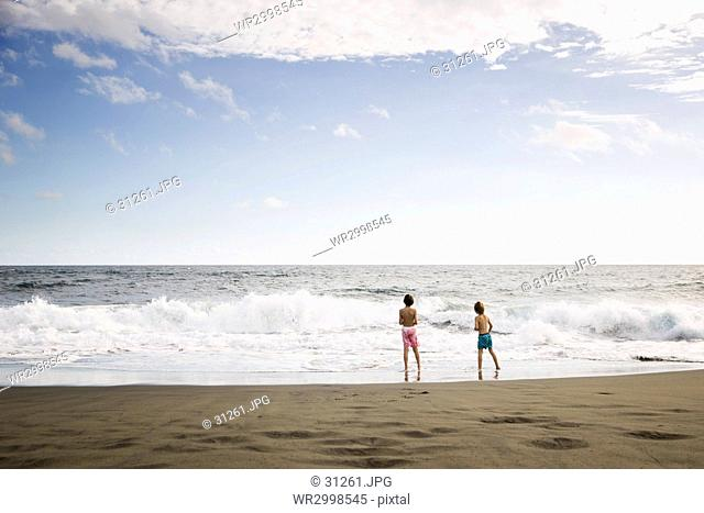 Two children, young boys playing at the water's edge on a sandy beach
