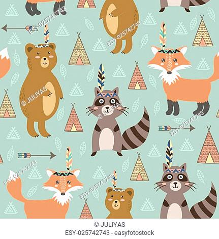Tribal seamless pattern with cute animals. Vector illustration