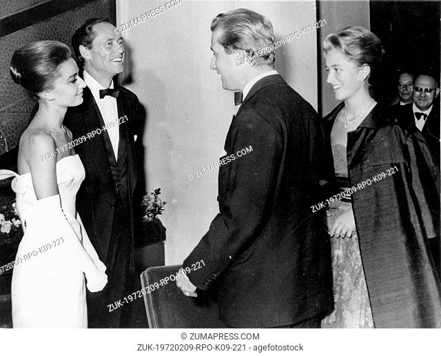 Sep. 17, 1959 - Brussels, Belgium - Actress AUDREY HEPBURN and husband MEL FERRER chat with PRINCE ALBERT and PRINCESS PAOLA at a gala performance in aide of...
