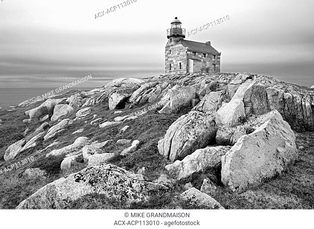 Restored granite lighthouse on the Atlantic Ocean Rose Blanche Newfoundland & Labrador Canada