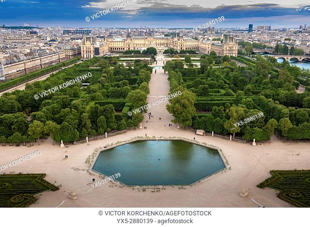 Tuileries Gardens and Louvre from above