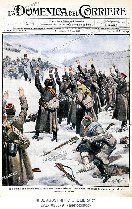 Defeat of the tenth Russian army in East Prussia: Russian soldiers raising their arms in surrender, plate by Achille Beltrame (1871-1945) from La Domenica del...