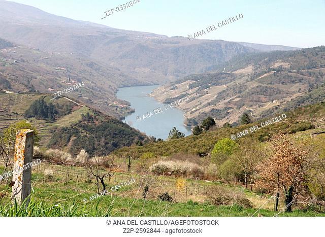 Ribera Sacra Sil river and mountains landscape Ourense Galicia Spain