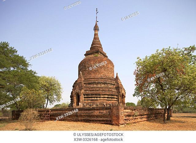 Stupa near Ywa haung gyi temple, Old Bagan village area, Mandalay region, Myanmar, Asia