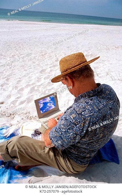 laptop used at beach