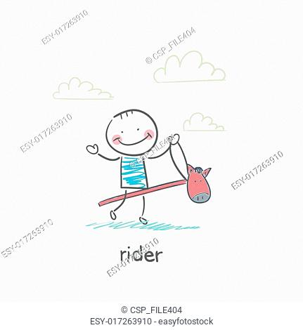 Rider on a horse toy. Illustration