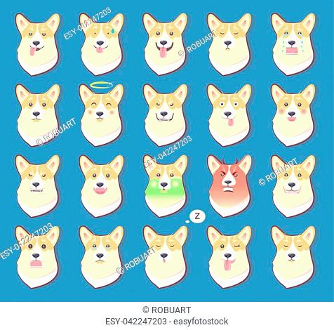 Set of dogs emotions, cute puppy symbol of New year 2018 with different emotions, happiness and anger, joy and disappointment vector illustrations
