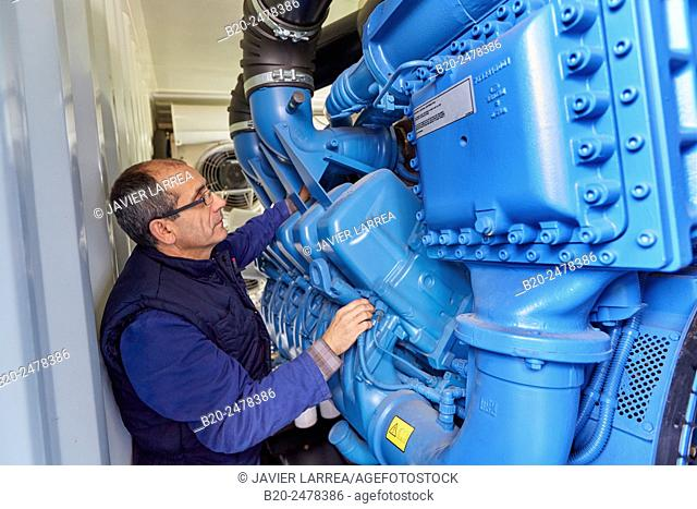 Technician fixing cogeneration engine of electric generator, uninterrupted electric service, Hospital Donostia, San Sebastian, Basque Country, Spain