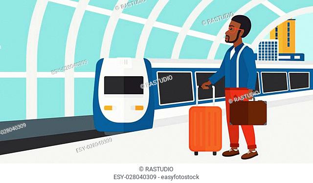 An african-american man standing with suitcase on wheels and holding a briefcase in hand on the background of modern train arriving at the station vector flat...