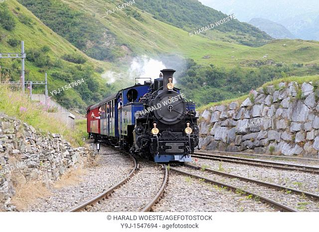 Furka cogwheel steam railway nearing Realp station  Switzerland, Western Europe, Grimsel-/Furka region, Uri  The steam engine HG 3/4 No  1 Furkahorn DFB 1 was...